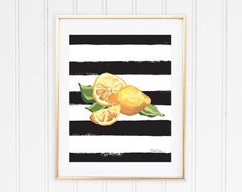 Citrus Fruit Print, Fruit Wall Print, Lemon Kitchen Decor, Picture Of Lemon, Lemon Art Print, Lemon Wall Art, Lemon Illustration