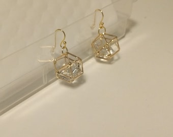 Gold Geometric Caged Jewel Earrings