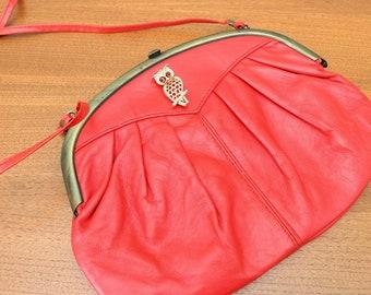 1980s leather pleated Italian made purse