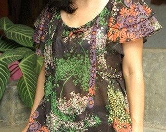 Summer Is Here...Short Sleeves Scoop Neck Muti-Color Floral Printed on Black Cotton Blouse