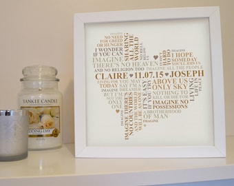 Framed Song lyrics print. First dance print. Wedding vows framed. Personalised word art picture.