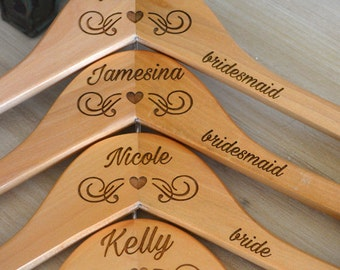 Personalized Hangers for Bridesmaids Engraved Wood Hangers Bridal Party Hangers for Wedding Day Accessories for Bridal Party Dress Hanger