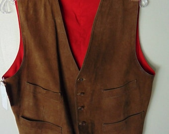 1960's English Bloomingdale's Suede Leather Vintage Vest Chest size 40 inches
