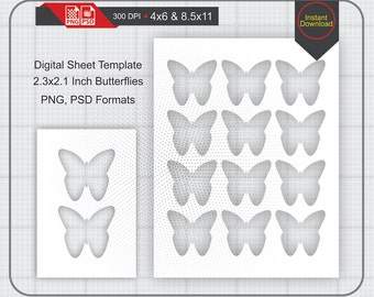 """2.3""""x2.1"""" Butterflies Template Instand Download, Make Your Own Template Png and Psd Formats"""
