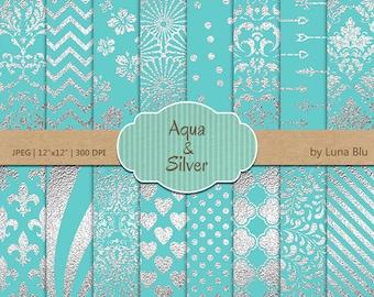 """Aqua and Silver Digital Paper: """"Silver Foil Patterns"""" aqua digital paper, aqua and silver scrapbook paper, silver digital paper, metallic"""