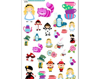 Alice in Wonderland Stickers - Disney Planner Stickers