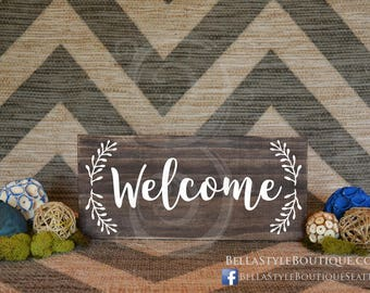 """Welcome 12"""" Wood Sign with Wreath"""