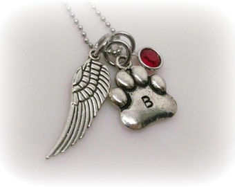 Dog Memorial Necklace Personalized Dog Memorial Jewelry Loss of Pet Sympathy Gift for Dog Lover Wing Necklace  Paw Prints Initial Necklace