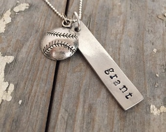 Tag You Are It-  Hand Stamped Personalized Baseball Charm Necklace Baseball Mom Coach Gift Team Gift