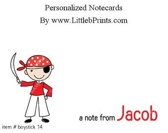 Stick Figure Boy Pirate Note Cards Set of 10 personalized flat or folded cards