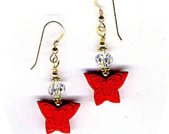 Red Cinnabar Butterflies & Swarovski HIGHLY Faceted AB Rounds Bead Earrings