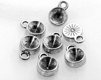 20pcs--Settings Antique Silver for Rhinestones 8mm (B44-22)