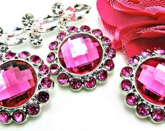 HOT PINK Rhinestone Button Acrylic Rhinestones Diy Embellishments Garment Buttons Wedding Coat Fashion 26mm 3185 24R