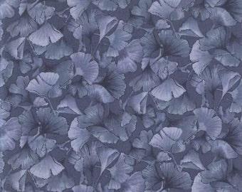 Petite Ginkgo Leaves: Gray/Ash Tonal Fabric from Kona Bay (1/2 Yd Increments)