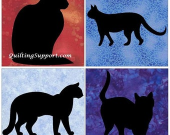 4 Kitty Cat Silhouette Quilt Applique Patterns (Set of 4)