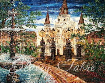 Jackson Square Fountain - matted to fit 16x20 - PRINT
