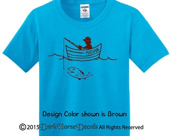 Personalized Gone Fishing T- shirt, boys/toddler tee with name