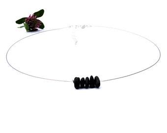 Silver choker, black tourmaline jewelry, silver wire choker necklace, black gemstone jewelry, gemstone choker, simple dainty choker, shikky