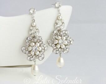 Bridal Earrings Swarovski Crystal Flower Chandelier Earrings Wedding Jewelry White Ivory Pearl Rhinestone Wedding Earrings  CLASSIC SABINE