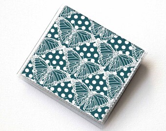 Handmade Vinyl Moo Square Card Holder - Butterflies Blue / case, vinyl, snap, wallet, paper, mini card case, moo case, square, butterfly