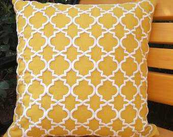 "Decorative geometric pillow cover/mustard embroidery pillow cover/ cushion cover   18x18""/45x45cm"