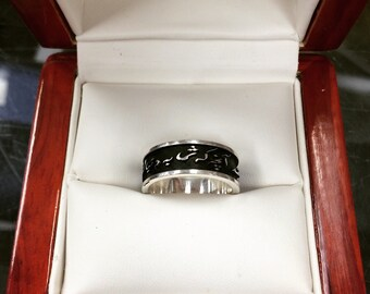 Rumi Ring or Wedding Band in Sterling Silver with Antique Finish