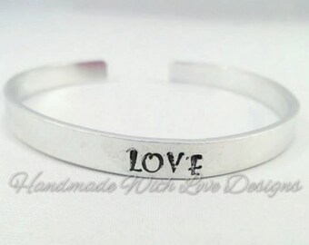Love Hand stamped Cuff Bracelet -