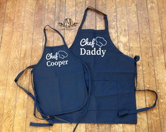 Matching aprons, matching Father and Son Aprons, kids apron, fathers day gift, cooking apron set, fathers day