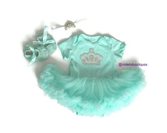 Mint tutu dress Princess outfit....1st Birthday outfit..baby girl dress..Newborn take home outfit