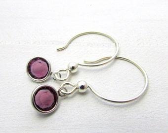 Birthstone Earrings, Choose Month, Swarovski Bezel Set Crystal, Sterling Silver Earwire, Birthday Gift, Birthstone Jewelry, E. Ria Designs