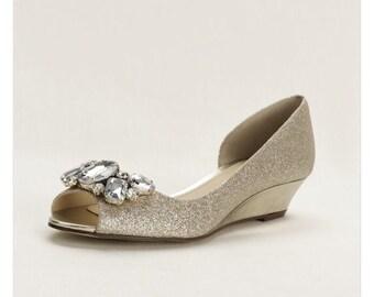 Crystal Peep Toe Wedge, champagne Metallic wedding wedges, bridal shoes
