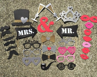 31-pc Wedding GLITTER Photo Props -Mr. and Mrs. - Bride & Groom Props - Photo Booth Props, Wedding, Bridal, Bachelorette, Party Props