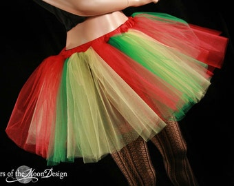 tulle tutu skirt adult Lifesaver extra puffy dance red yellow green costume dance halloween parrot - You Choose Size - Sisters of the Moon