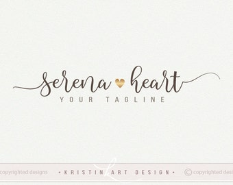 Gold heart logo, Signature logo, Photography logo design, Preamde logo, watermark 451