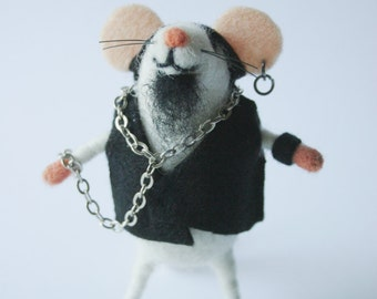 Felt rocker mouse, Felted artisan mouse, Collectible toy,  Felt mice figure, Punk, Mouse miniature, Mouse stuffed plush mice