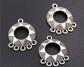 4 dangles, silver connectors antique crimp 27mm (approx)