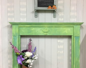 Fireplace surround, wooden fireplace surround, decorative fireplace, hand painted fireplace surround, bohemian  (Annie Sloan Chalk Paint)
