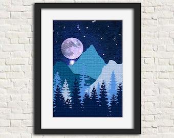 Winter Blues - Wall Art, Instant Download, Printable Art, Modern Art, Wall Decor