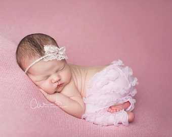 Joss - Open Halo Headband Wrap Tie Back - Pink Mauve Bow Pearl - Newborn Baby Girl Infant Adults - Photo Prop