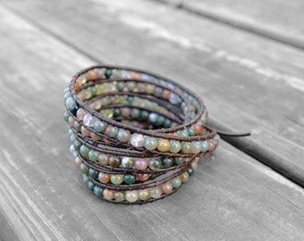 Leather Agate Bracelet Agate Wrap Bracelet Beaded Bracelet Leather Wrap Bracelet Wedding Bracelet Bridesmaid Bracelet Mother's Day Gift