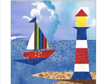 Lighthouse & Sailboat Quilt Block Paper Pieced Pattern
