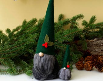 SET of Nordic Gnomes, ALISTAIR Mini and Large, Nisse, Tomte, Scandinavian Gnome, Christmas, Holly Berry, Elves, Elf, Gnome, Birthday
