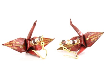Bamboo on Burgundy Origami Crane Earrings with Gold Plated Hooks -- small Jewelry
