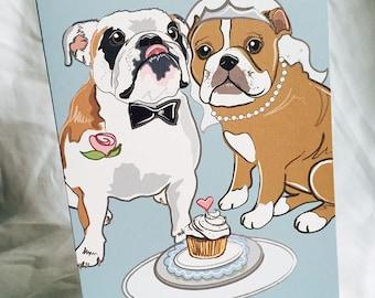 Wedding Bulldogs - Greeting Card
