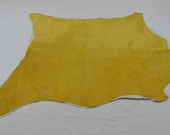 Mustard velvet calfskin leather