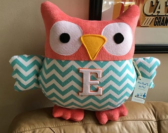 Custom Owl Pillow- pillow made in the color of your choice- Chevron or Print Fabric- Monogram available