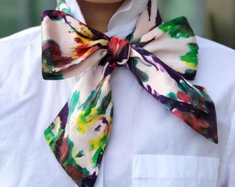 Handmade Hand-dyed Fashion Silk Skinny Scarf Abstract Prints ONE-OF-A-KIND customized limitedition