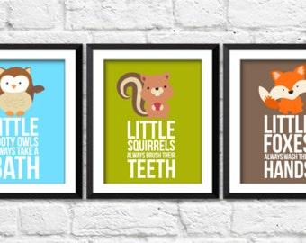 Forest animals nursery art prints, woodland nursery decor, woodland bathroom prints, bathroom rules, kids bathroom decor, forest animals art