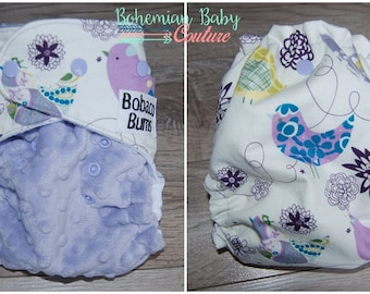 OS One Size Floral Birds AI2 All in Two Cloth Diaper