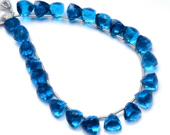 """Neon Apatite Color Hydro Quartz Faceted 7 to 8MM Approx. 3D Trillion Shape Briolettes Beads 7"""" Full Strand Super Fine Quality Beads"""